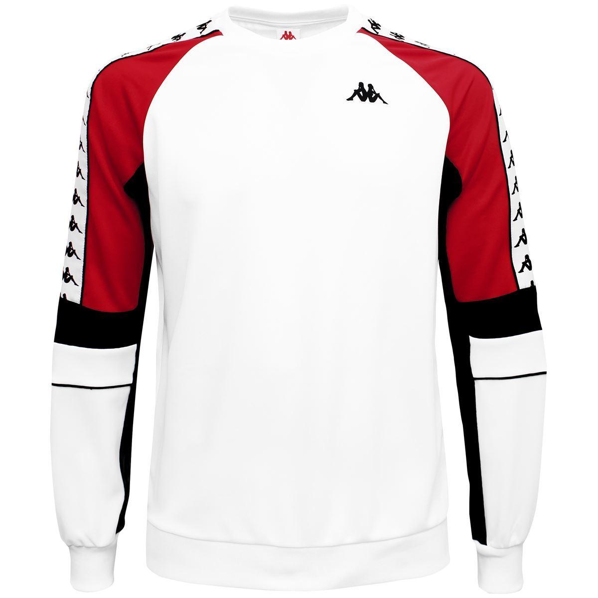 Kappa Arlton 222 Banda Retro Football Sweat Top in White /& Green