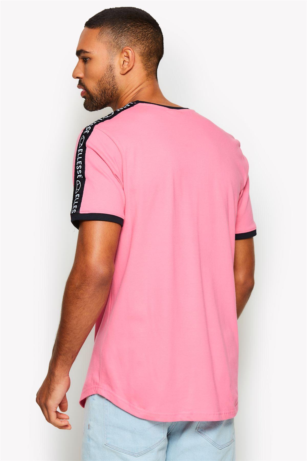 Pink /& White Ellesse Fede Cotton Crew Neck Taped Shoulder Retro T-Shirt Blue