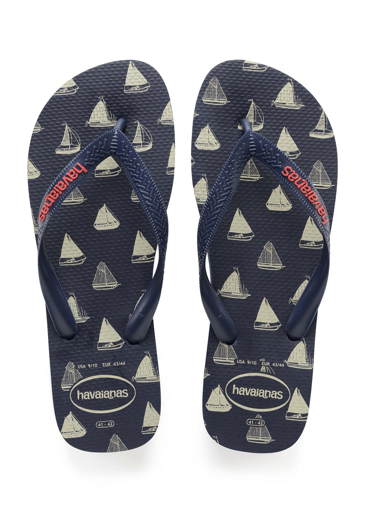 Havaianas Top Nautical Flip Flops Summer Beach Pool Sandals in Naval Print