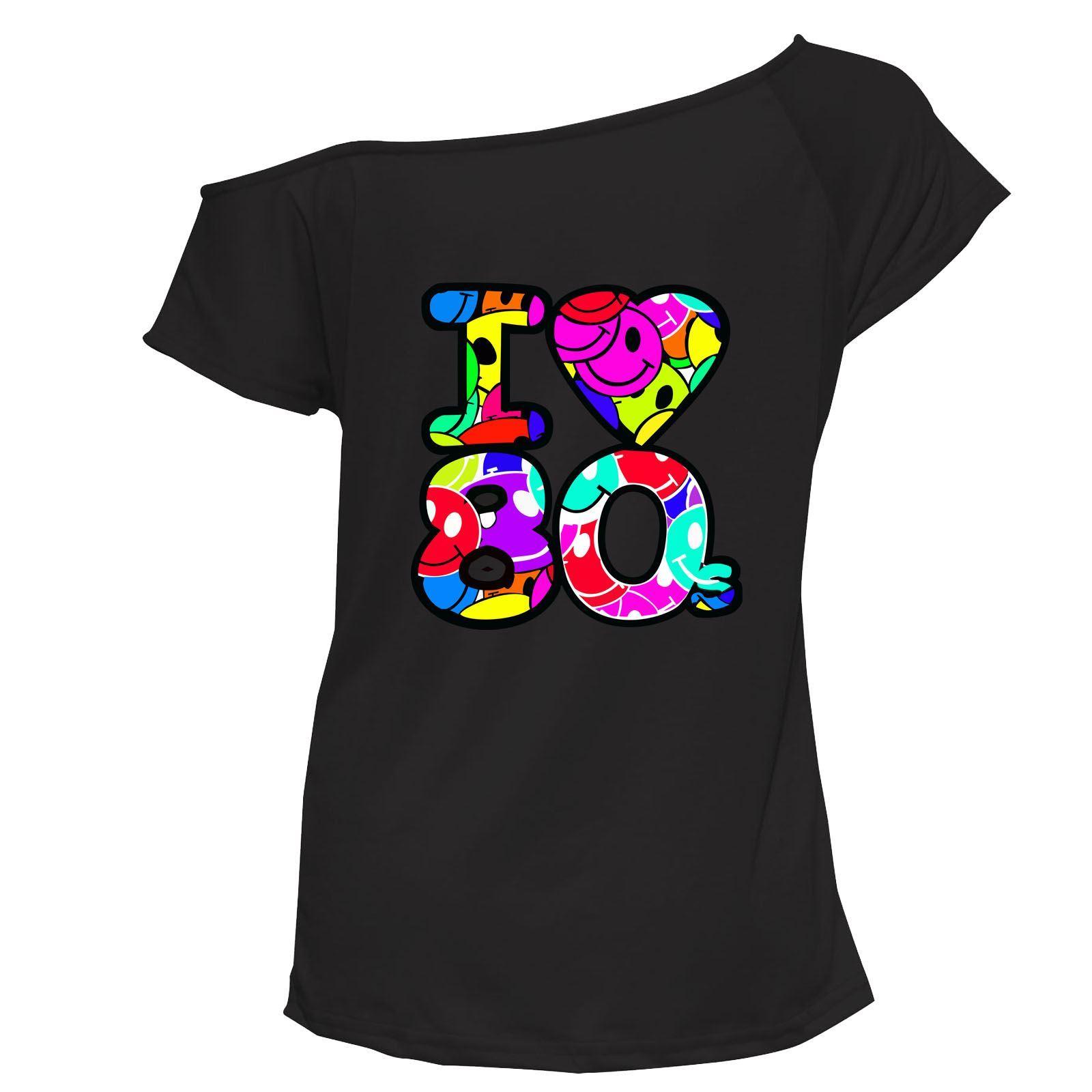 Womens I Love The 80s Print TShirt Ladies Off Shoulder Top Tee Lot 6014792 ®