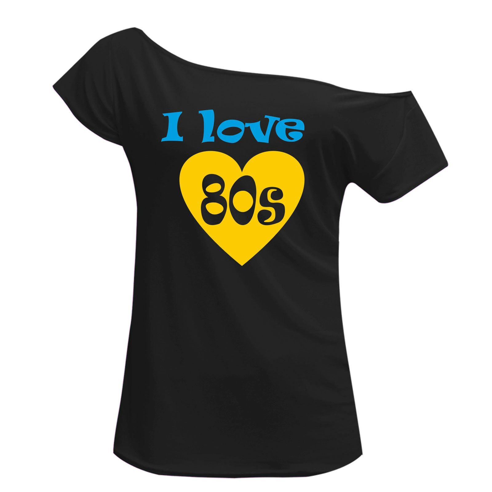 Womens Off Shoulder I Love 80s T Shirt Tutu Skirt Set Party Accessories 6395