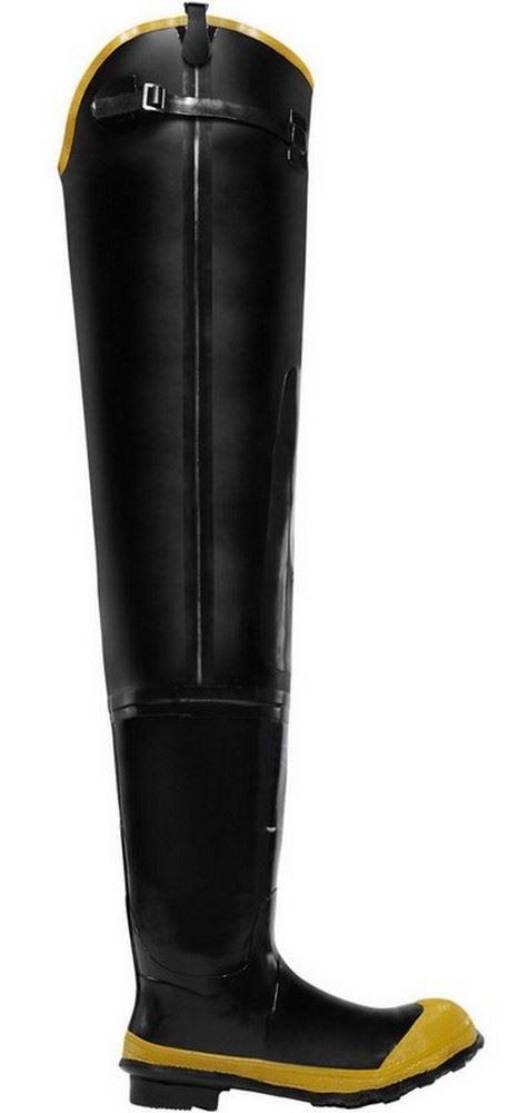 """LaCrosse Economy 24009091 Mens Black Rubber 32"""" Steel Toe Waterproof Hip Boots"""
