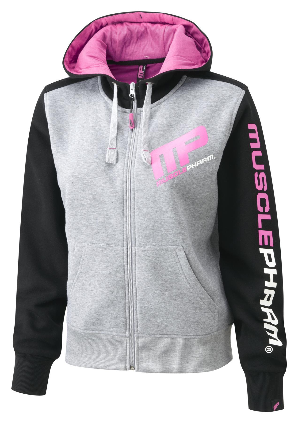 MusclePharm Ladies Contrast Printed Zip Hooded Hoody Gym Sweater Hoodie XS-L