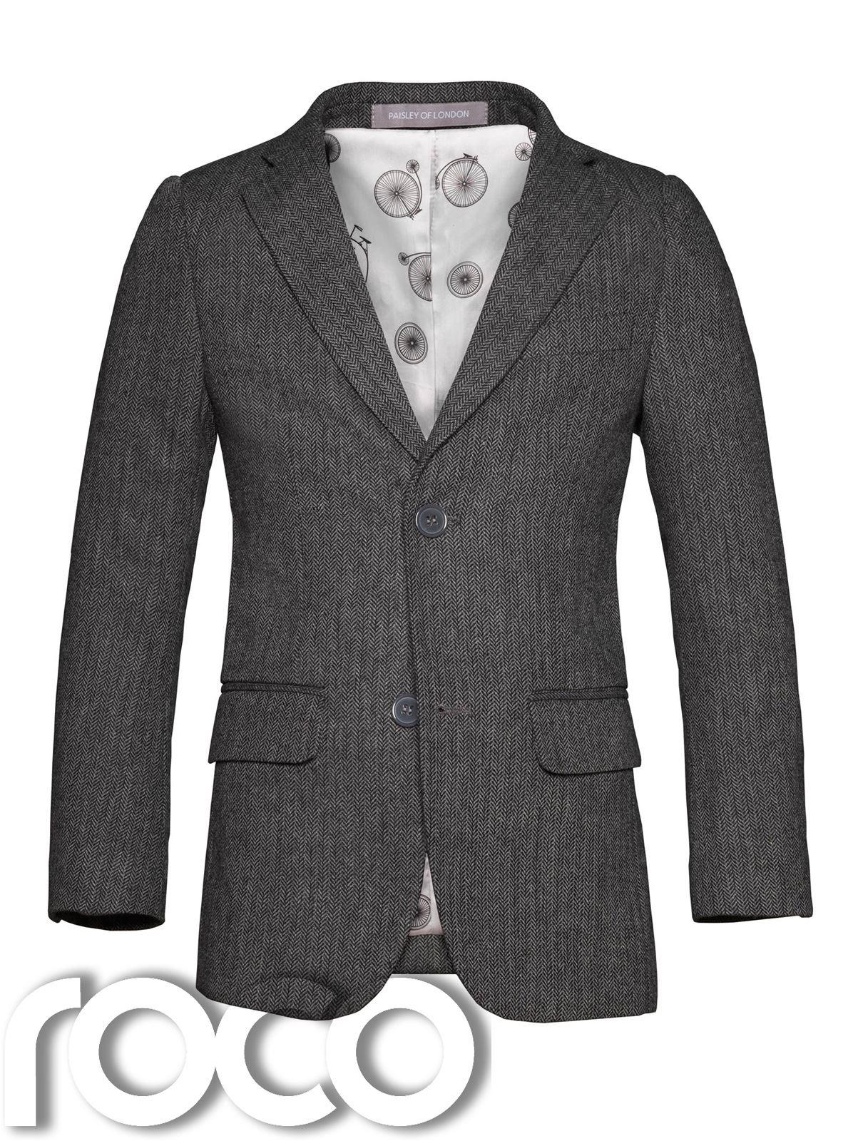 Boys Grey Tweed Jacket Set Boys Tweed Waistcoat Boys Herringbone Jacket