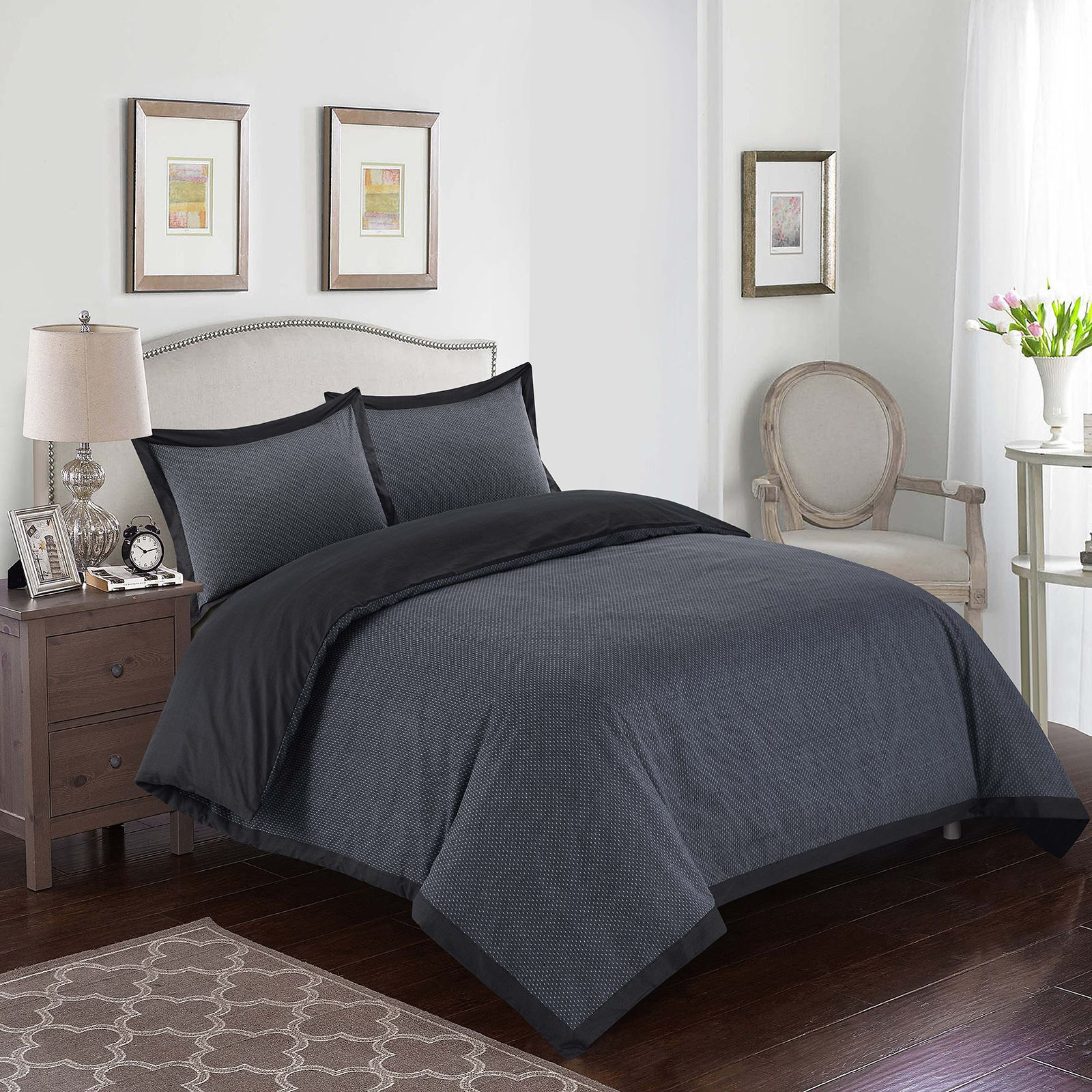 New Luxury 100/% Cotton Bedding Duvet Quilt Cover Set Soft Cosy Woven Dotted Grey