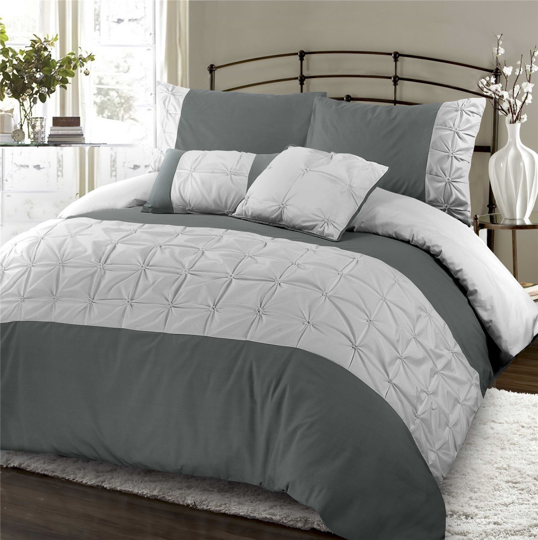 Jones Soft Pintuck Ruched Embroidered Cotton Rich Quilt Duvet Cover Bedding Set