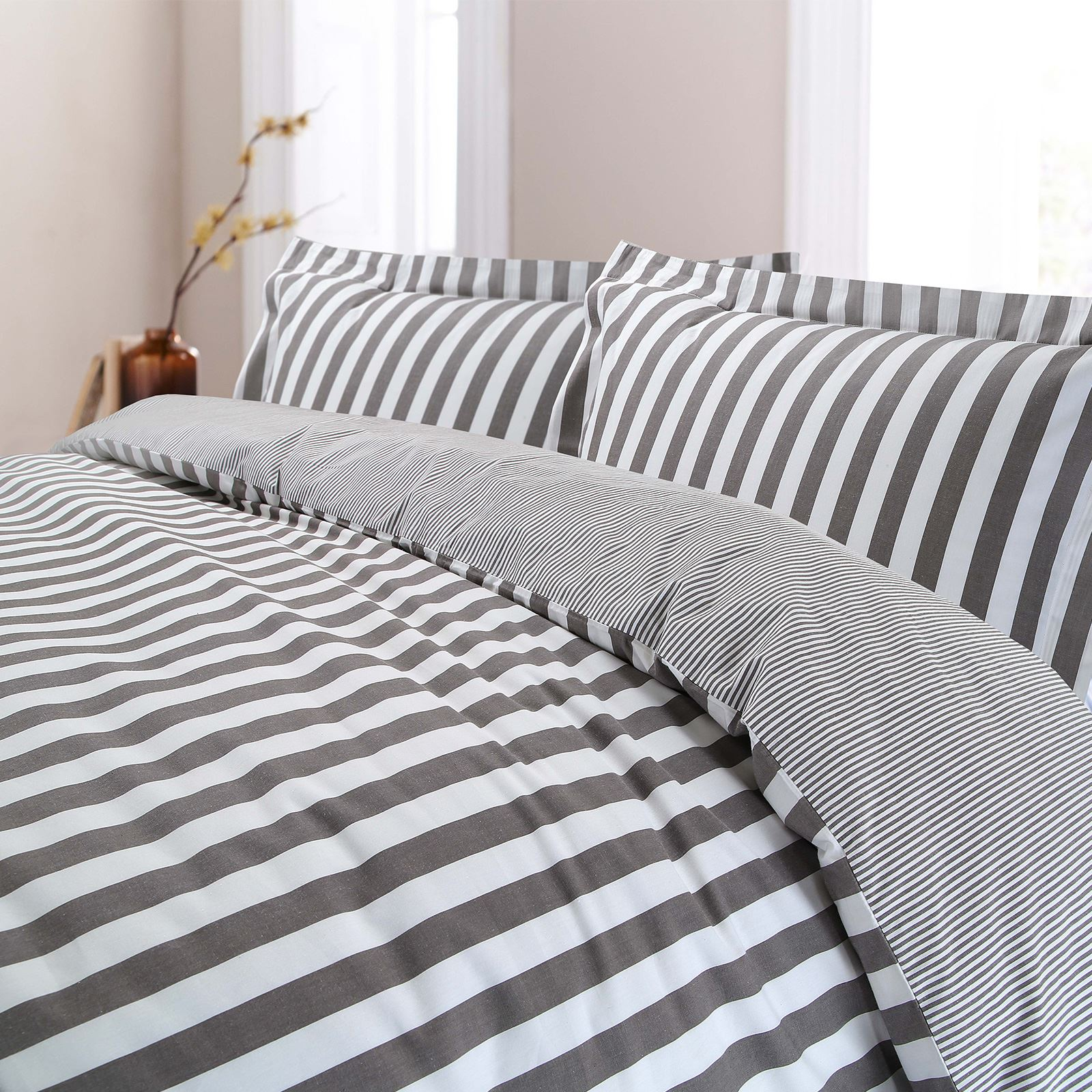 100/% Combed Cotton Duvet Cover Set Bedding Cosy Winter Stripe Yarn Dyed T200