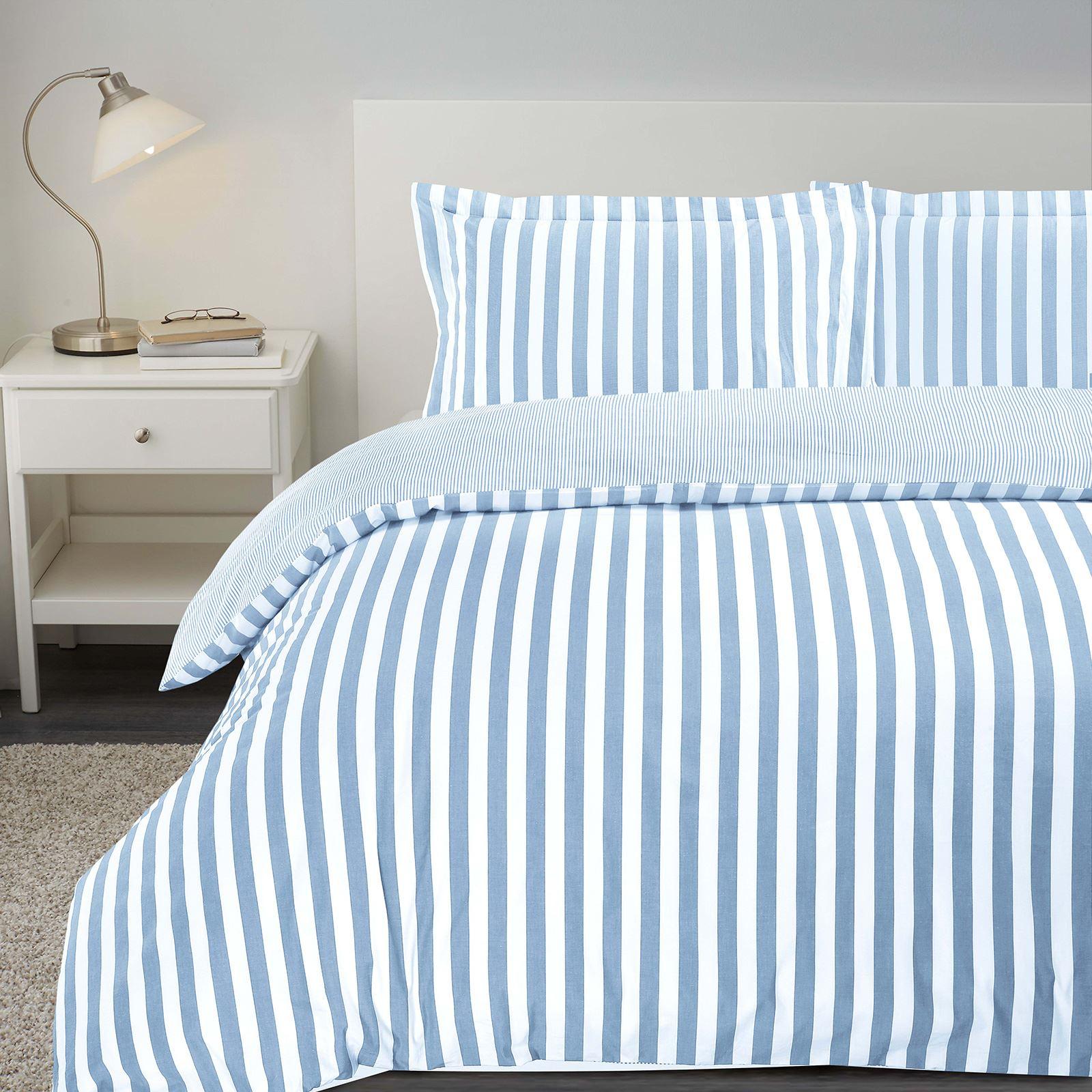 Vertical Stripe Woven 100/% Cotton T200 Reversible Duvet Cover Bedding Set