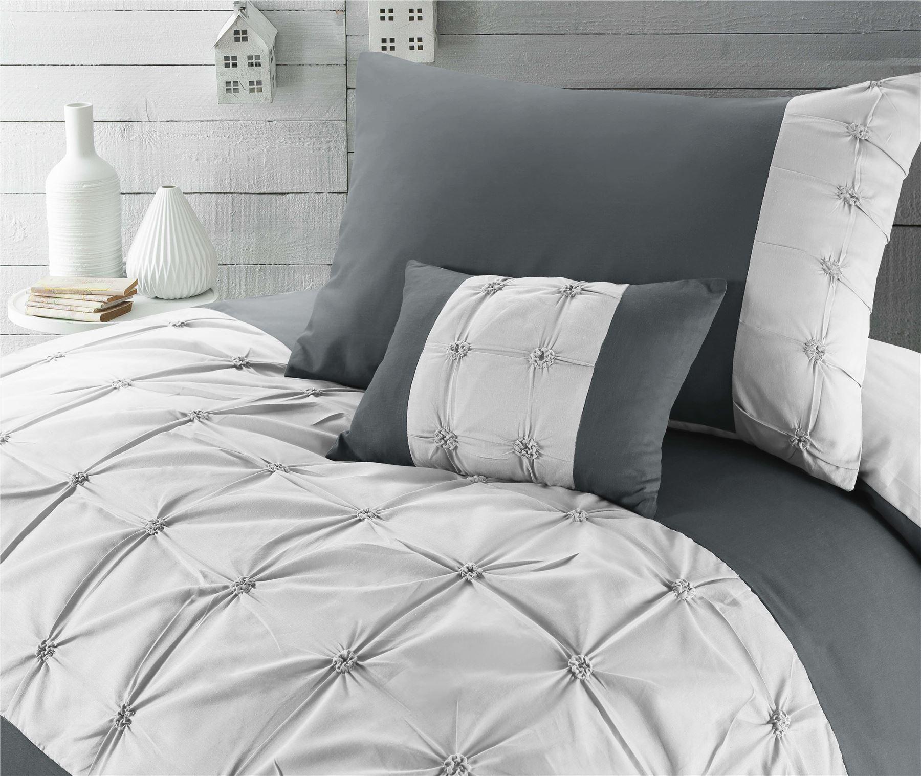 Jones Confection Embellished Cotton Blend Quilt Duvet Cover Set Slate /& Dove