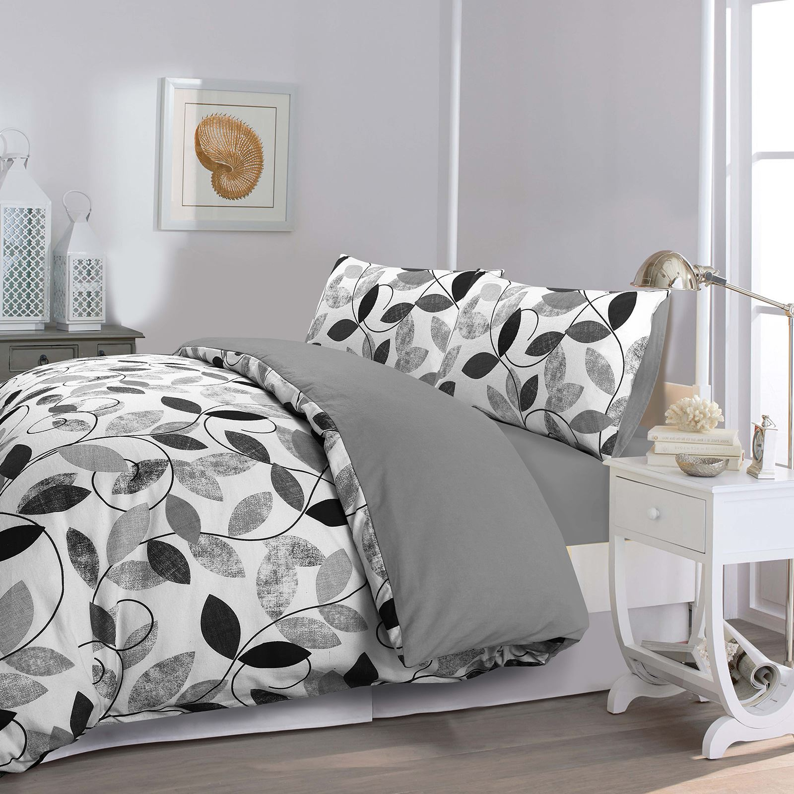 Super Soft 100/% Brushed Cotton Grey /& Black Flannel Flannelette Duvet Cover Set