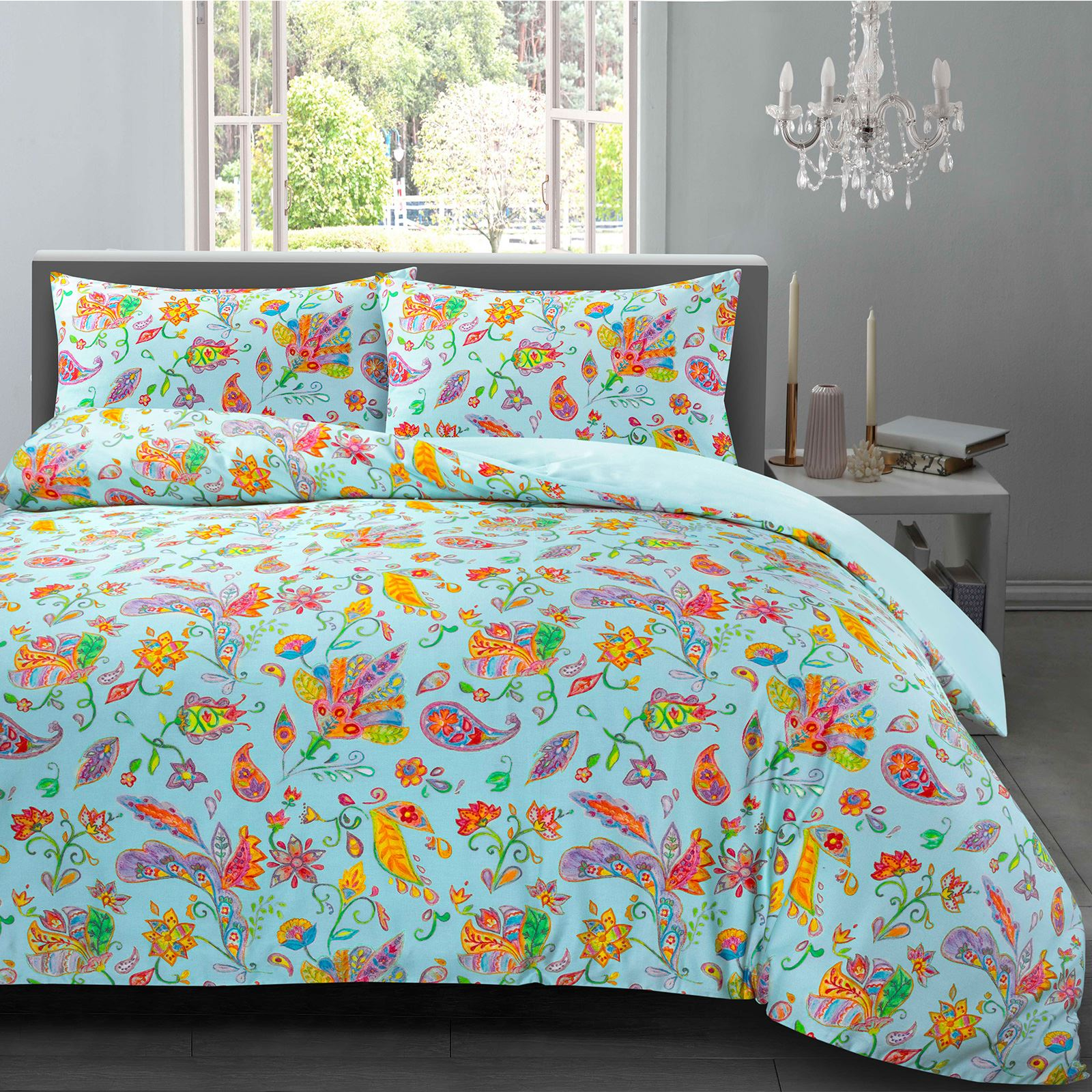 Gemma Hotel Quality Watercolour Paisley 100/%Cotton Sateen Quilt Duvet Cover Set