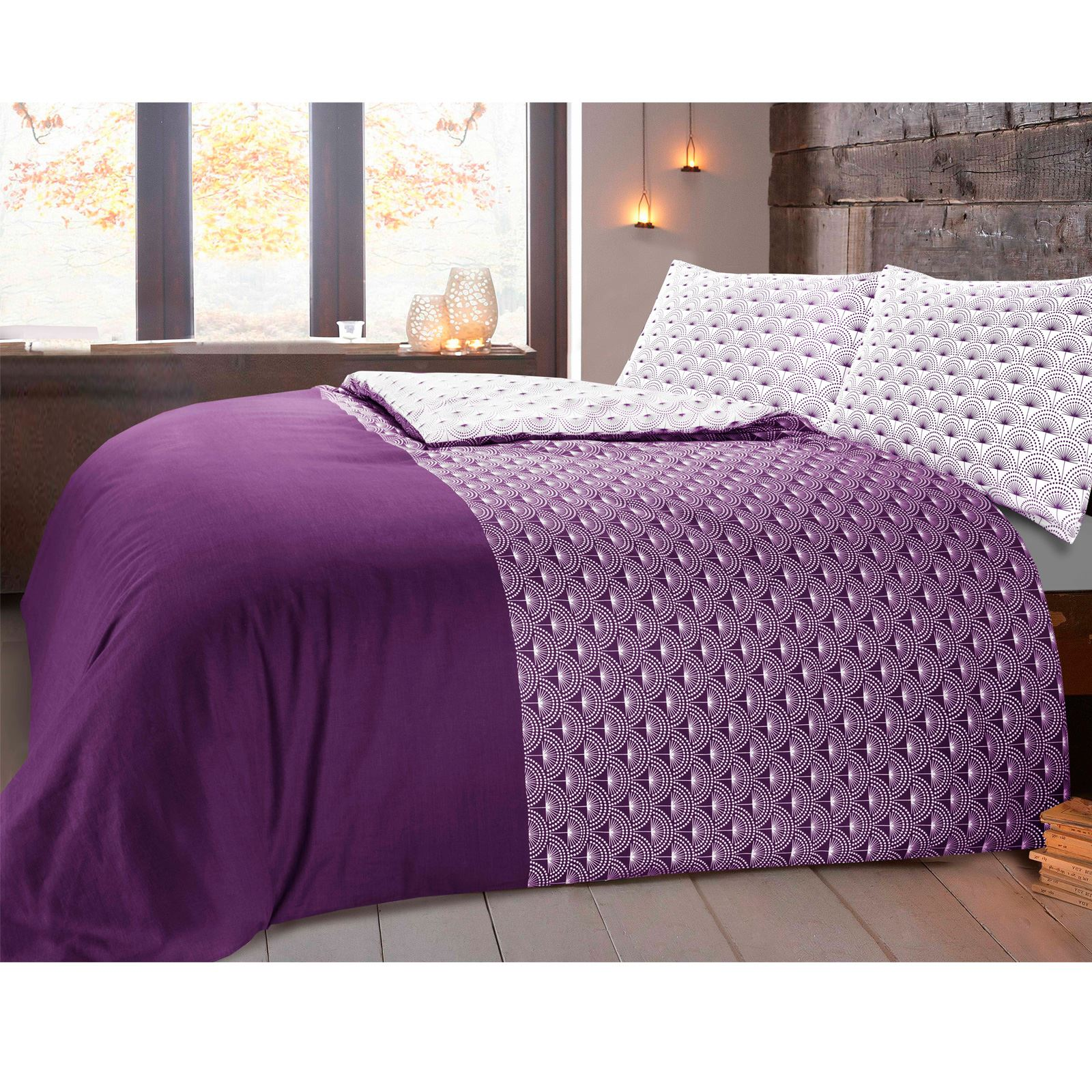 Paloma Floral Dandelion 100/% Cotton Duvet Quilt Cover Bedding Set Grey Purple