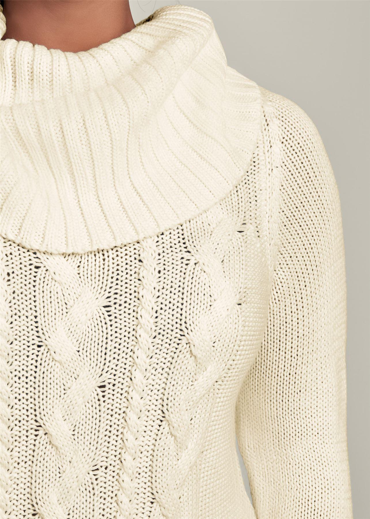 3XL VENUS Wide Roll Neck Warm Chunky Cable Knit Jumper Dress Size XS