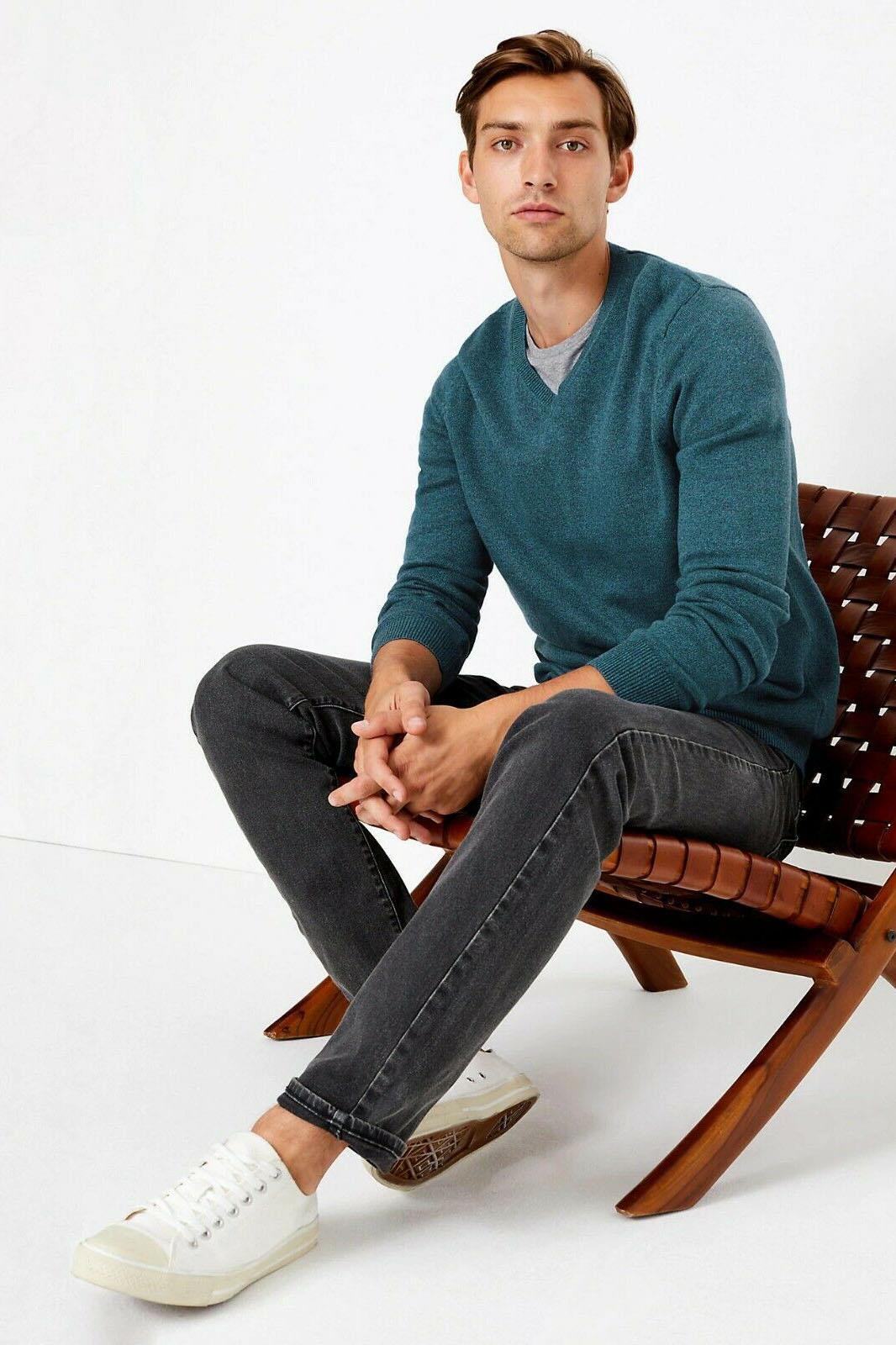 MARKS /& SPENCER Mens Lightweight Cotton V-neck Jumper M/&S Sweater RRP £19.50