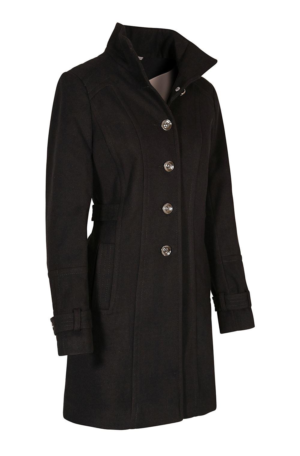 Ex Wallis Funnel Neck Button Down Winter Coat in Beige or Black Size 8-16
