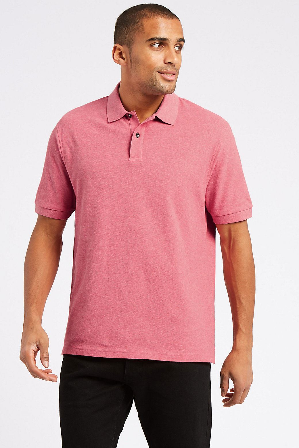 Ex Marks and Spencer Mens Cotton Pique Polo Shirt NEW Sizes S 3XL