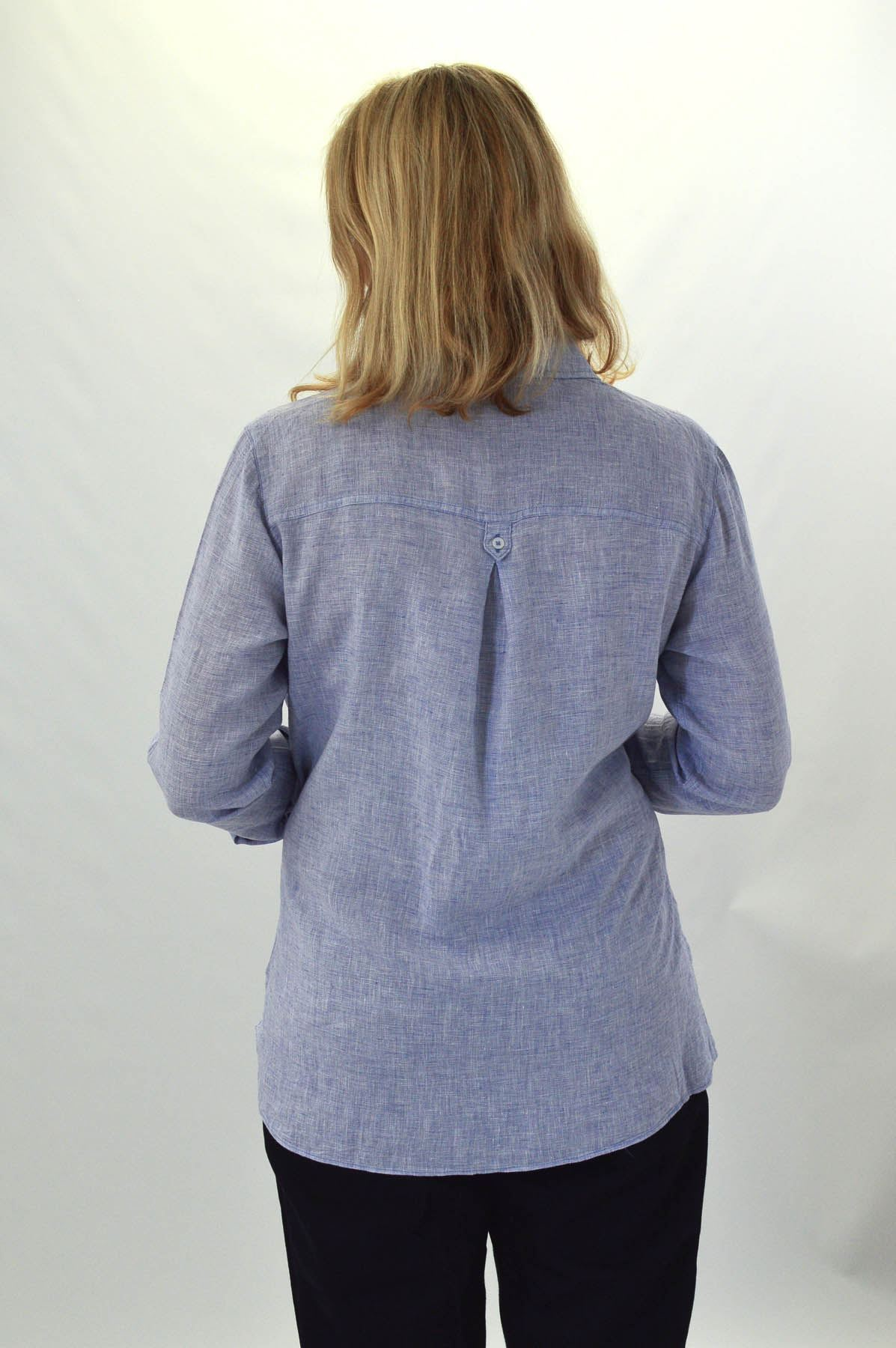 F/&F Pale Blue Linen Shirt Long Sleeves Tabs Breast Pockets Size 6-22