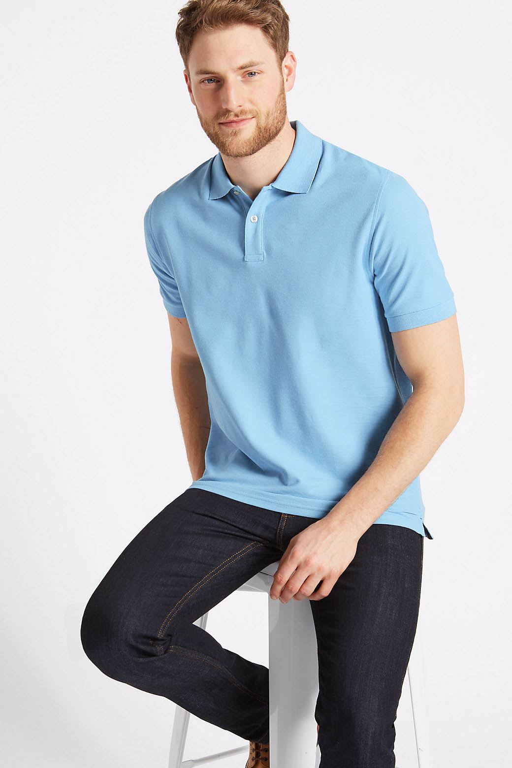 3XL Ex Marks and Spencer Mens Cotton Pique Polo Shirt NEW Sizes S
