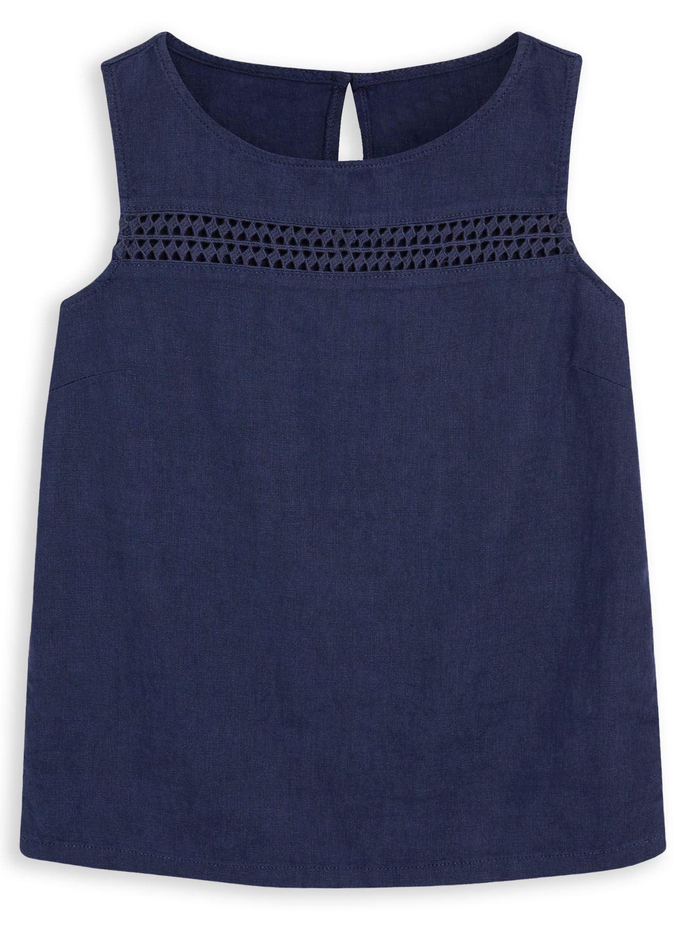 New ex Next Ladies Linen Sleeveless Boxy Summer Vest Top Size 8 Yellow Ochre
