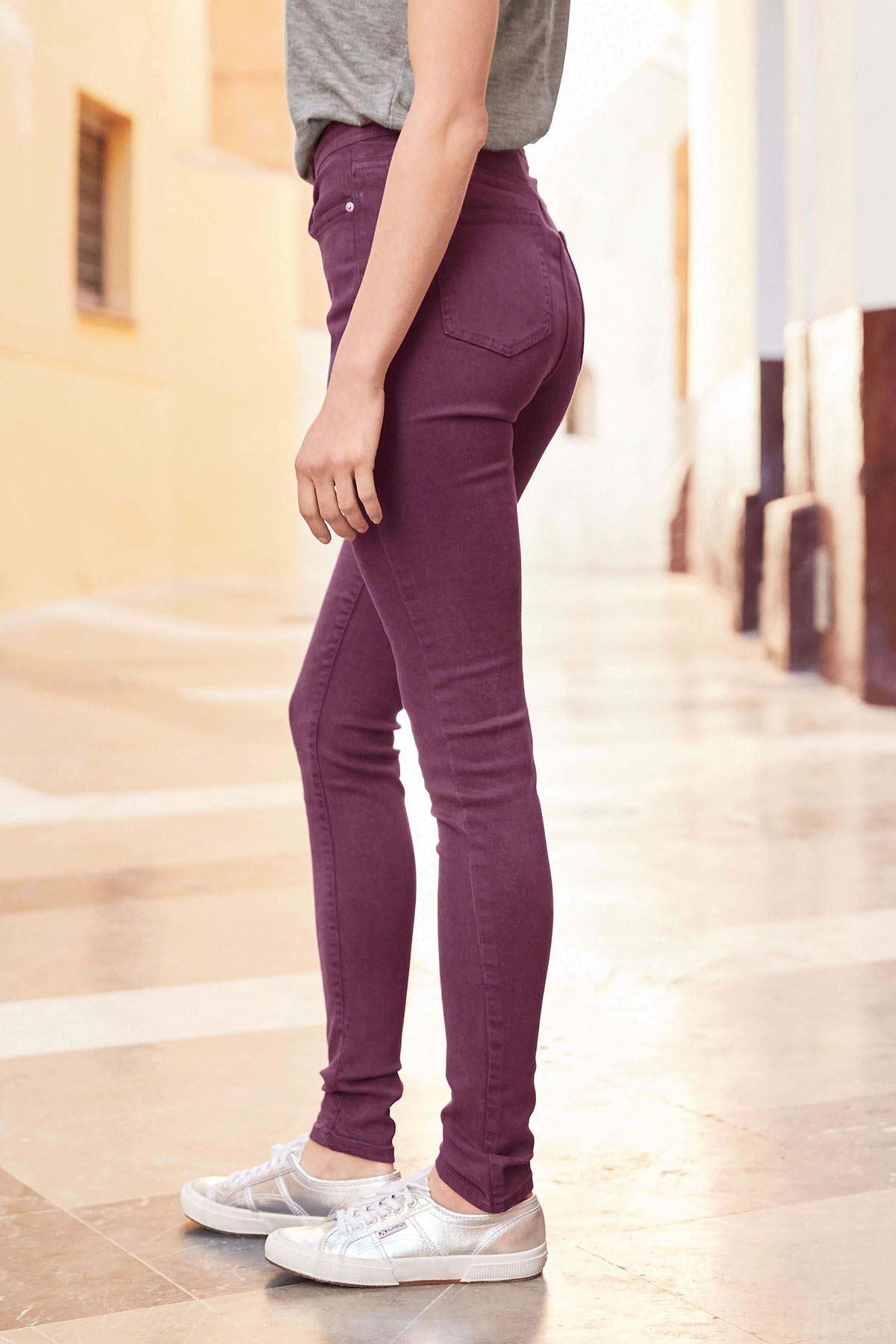N*XT Ladies Supersoft Skinny Jeans Khaki Dusky Pink Burgundy Black