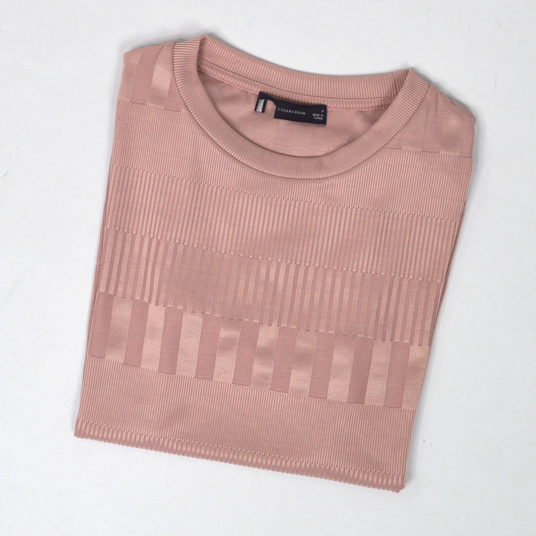ex M/&S Marks Spencer Womens Embossed Stripe Jersey Knit Short Sleeve Top