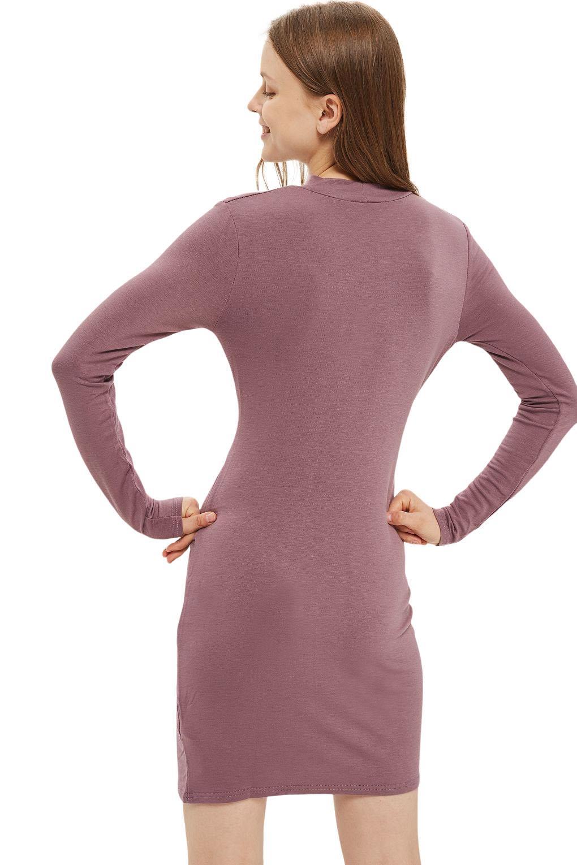 Nouveau Ex Topshop rose poudré col haut Cross Wrap Midi robe manches longues Taille 4-16
