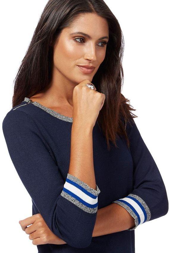 Ex Debenhams Round Neck Top Jumper Contrast Stripe Edging Sizes 18-26