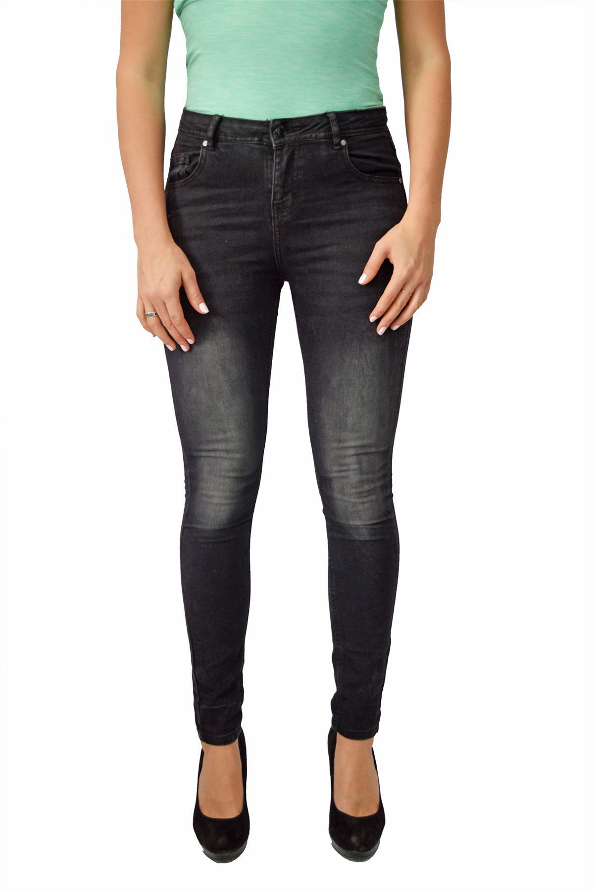 EX New Look Slim Skinny High Rise Jeans in Nero O Blu Scuro Taglia 6 8 10 12
