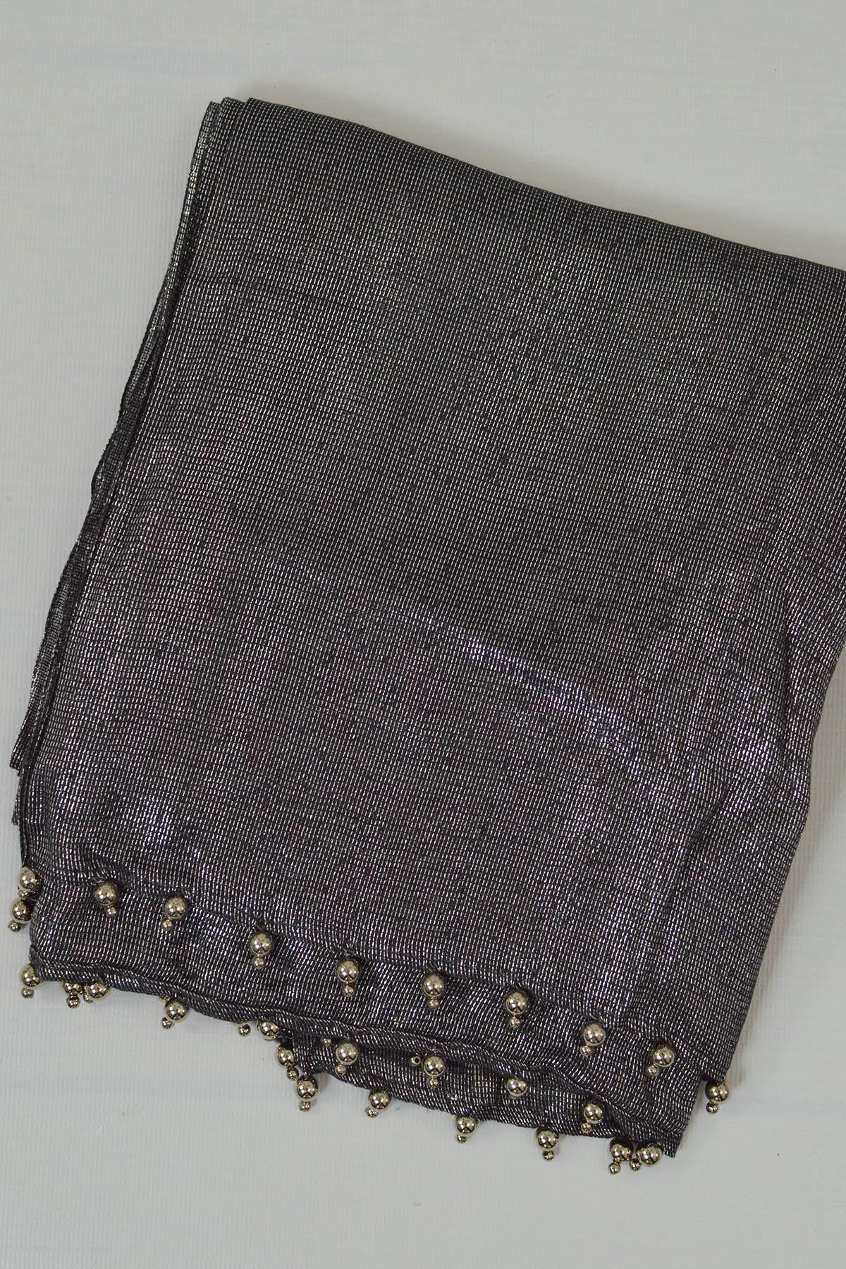 Lurex Thread Weave Beaded Tassle Edge Scarf Pashmina Silver Gold