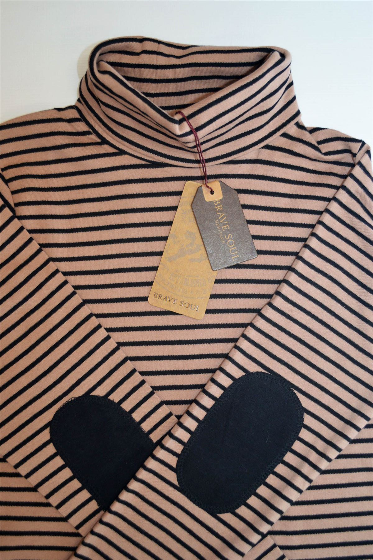BRAVE SOUL Polo Rayé neckwith Patch Coude RRP £ 25