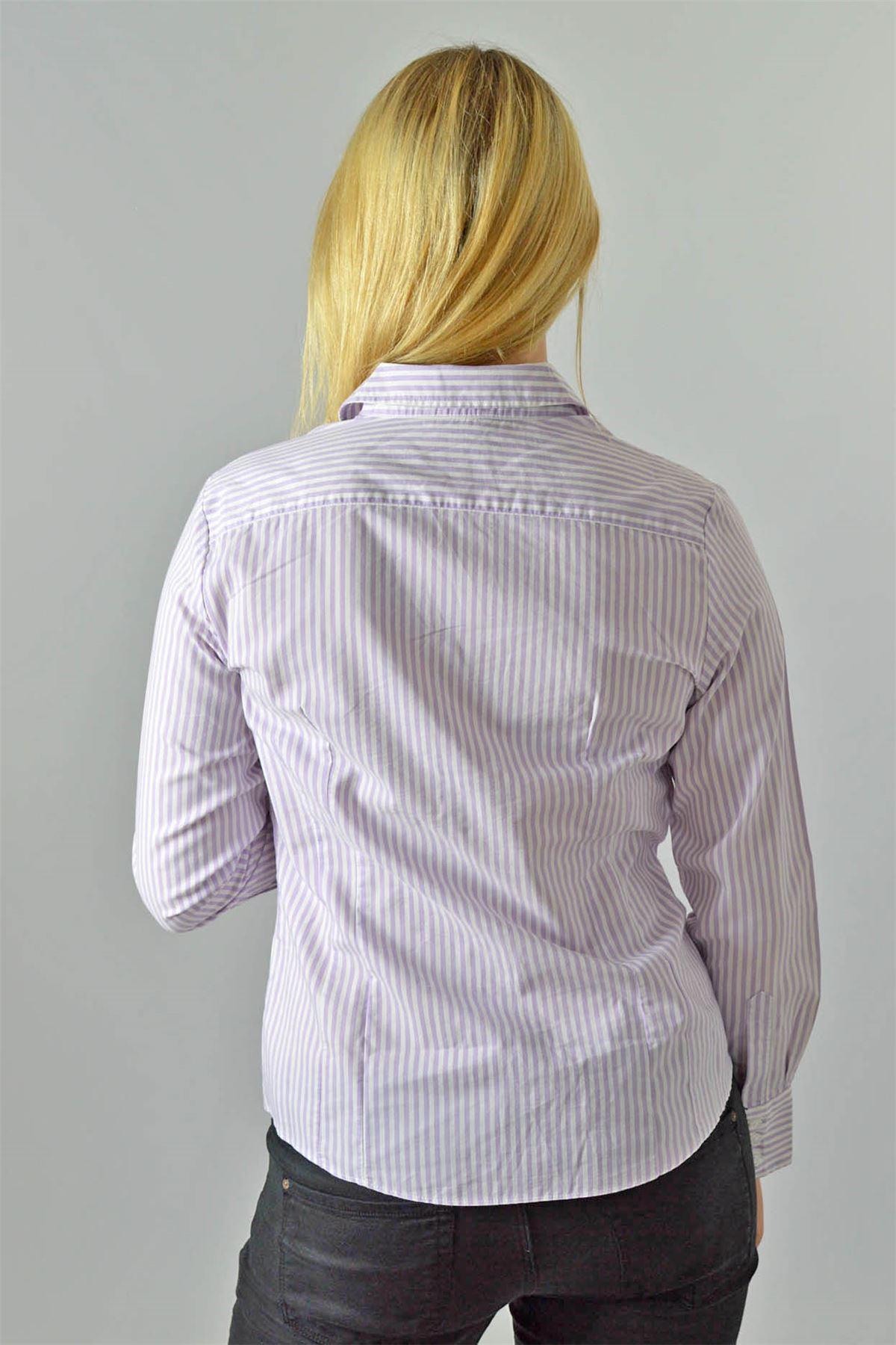 Ex M/&S Pink Purple Stripe Stretch Fit Womens Shirt New Sizes 10-22