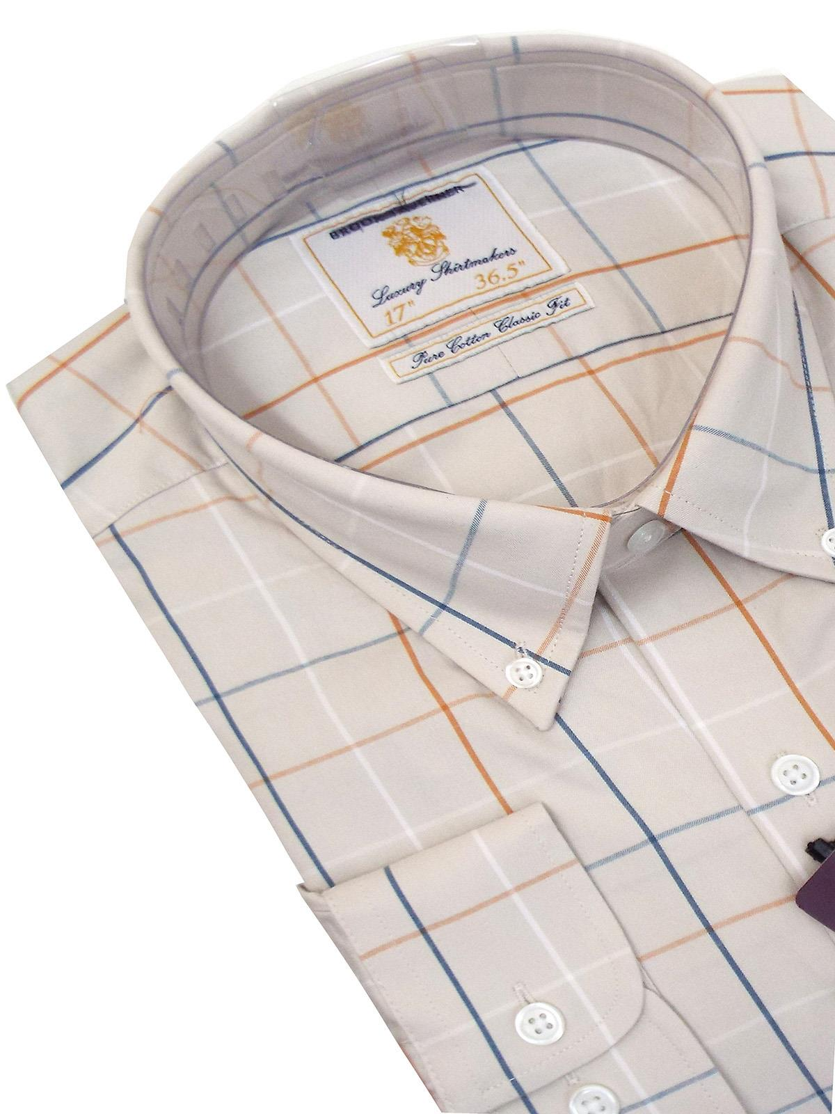 BROOK TAVERNER Mens Tattershall Check Cotton Shirt Long Sleeve RRP £60
