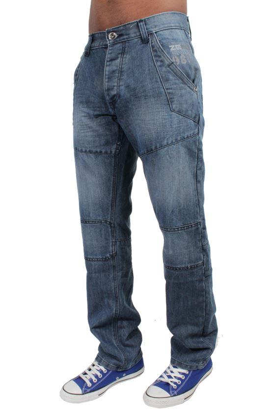 ENZO Jeans Da Uomo Classic Fit Straight Bottone Mid Stone Pantaloni Tutte Le Taglie Vita