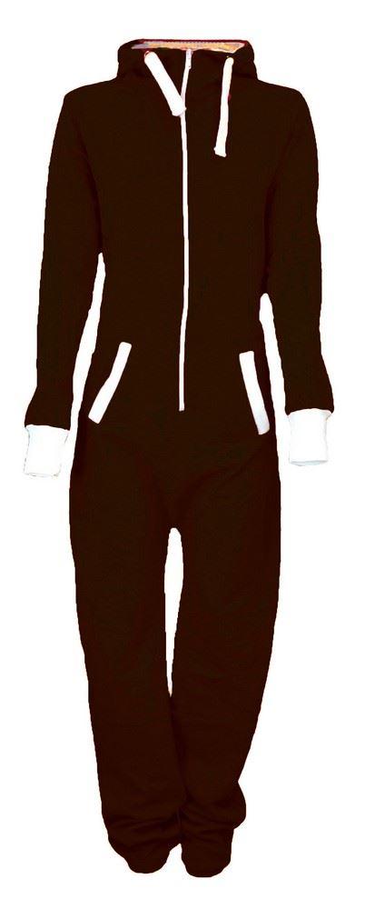 New Unisex Womens Mens Hooded Zip Onsie Playsuit Ladies All In One Jumpsuit