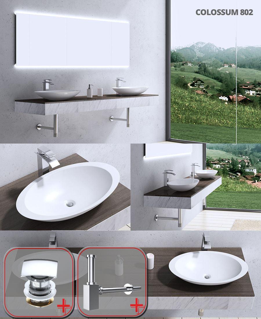 Bathroom Factory Wash Basin Cast Stone Countertop Oval 59.3x35.1cm Waste Kits