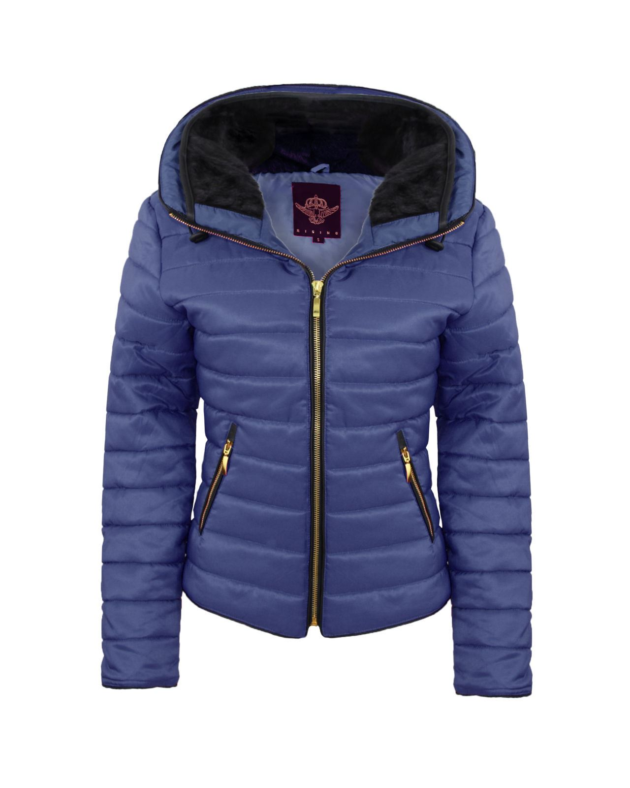 New Ladies Womens Bubble Quilted Padded Puffer Fur Collar Warm Thick Jacket Coat