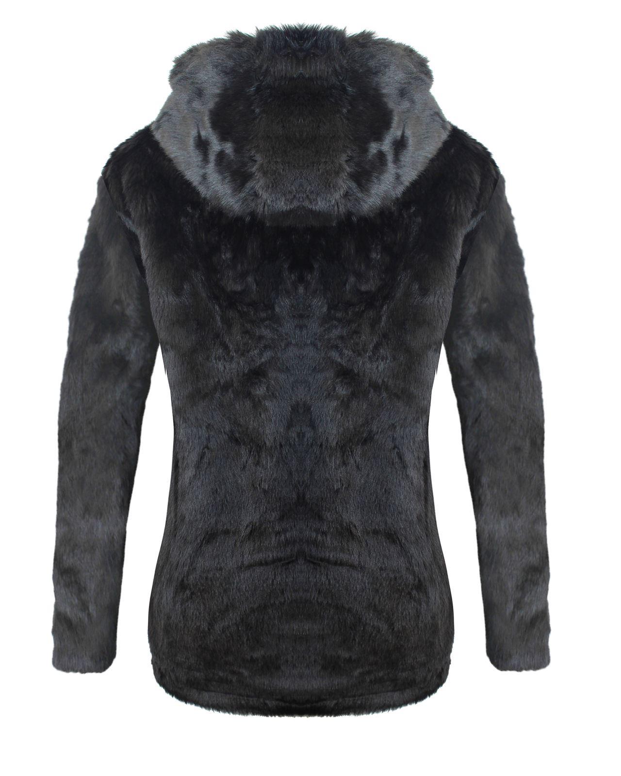 Mesdames Womens All Over fausse fourrure capuche veste manteau impression animale 8 10 12 14 16