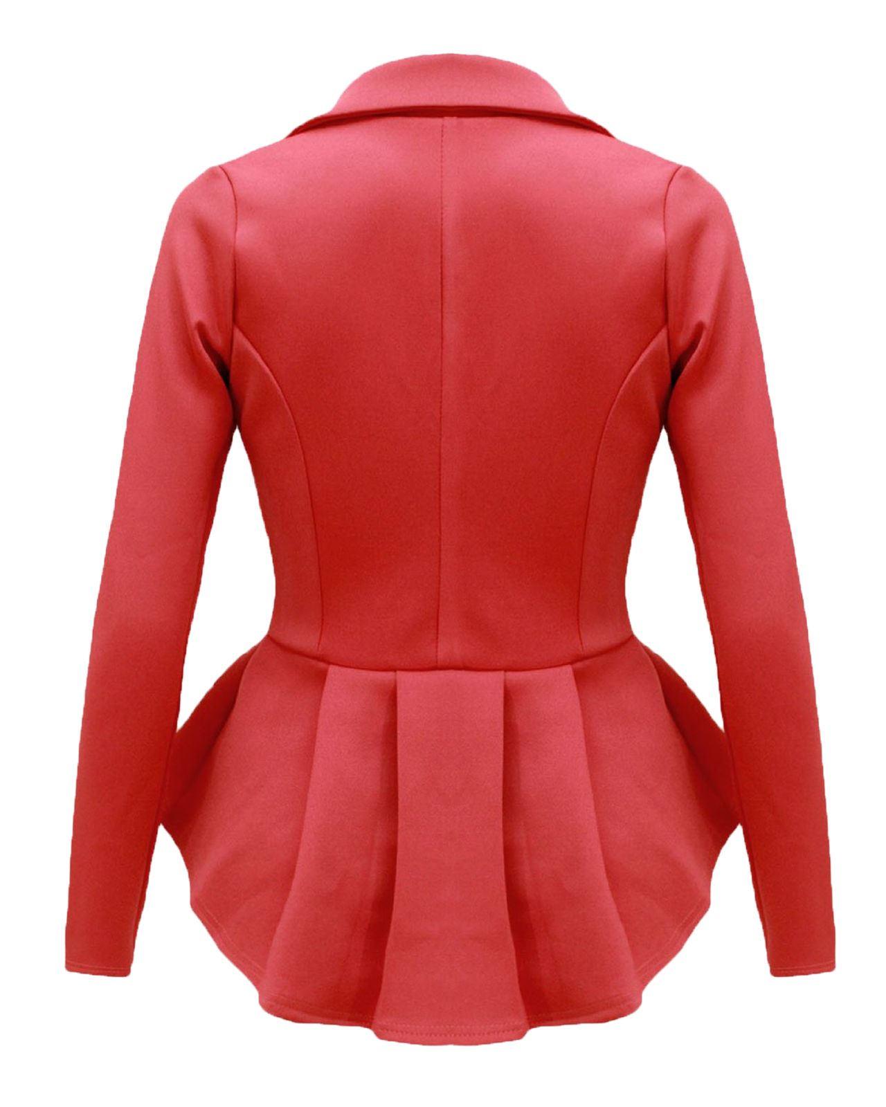 New Ladies Women Crop Frill Shift Slim Fit Office Jackt Peplum Blazer Coat 8-16