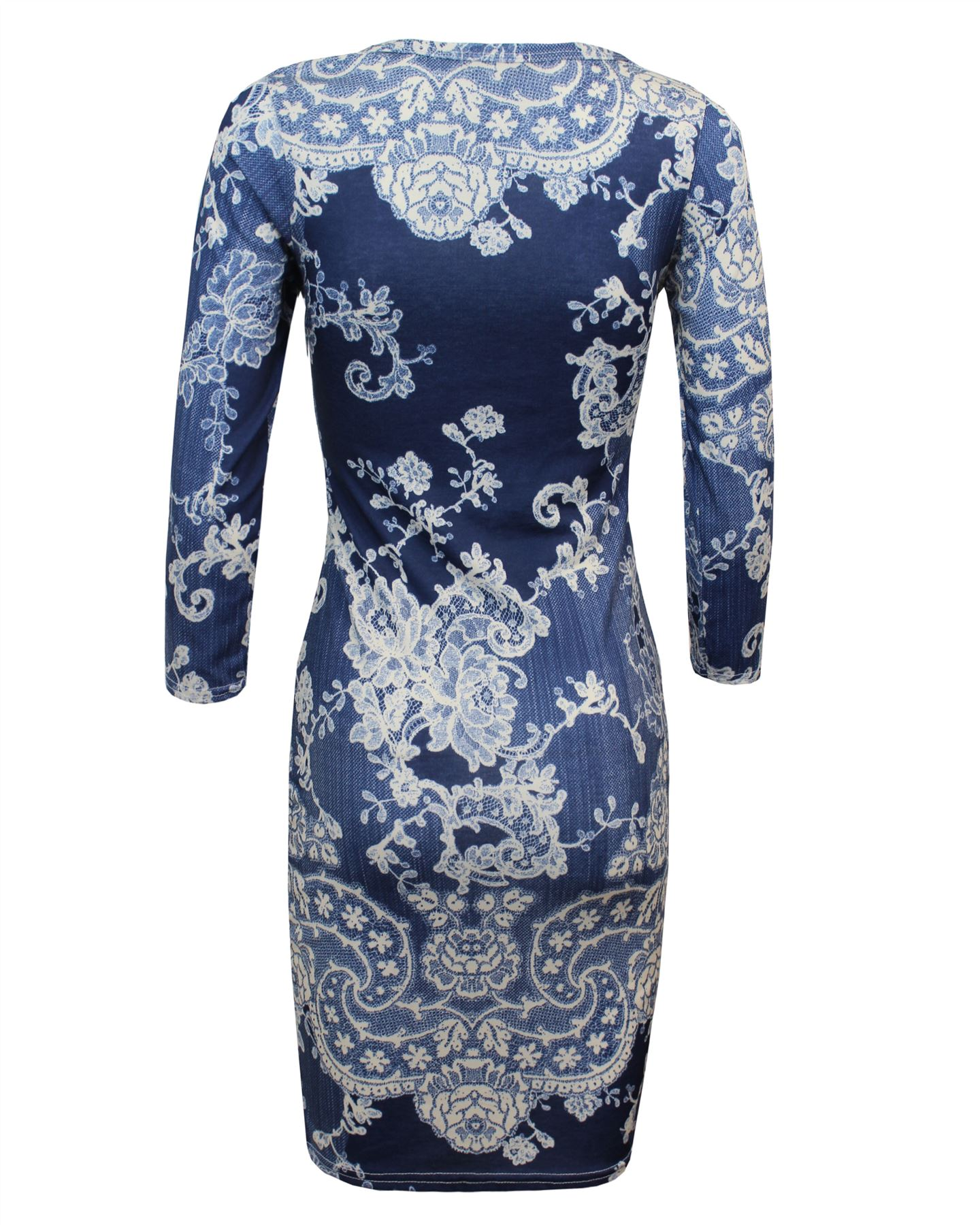 UK 8 10 12 14 Ladies Women Printed Floral ¾ Sleeve Bodycon Midi Party Dress Top