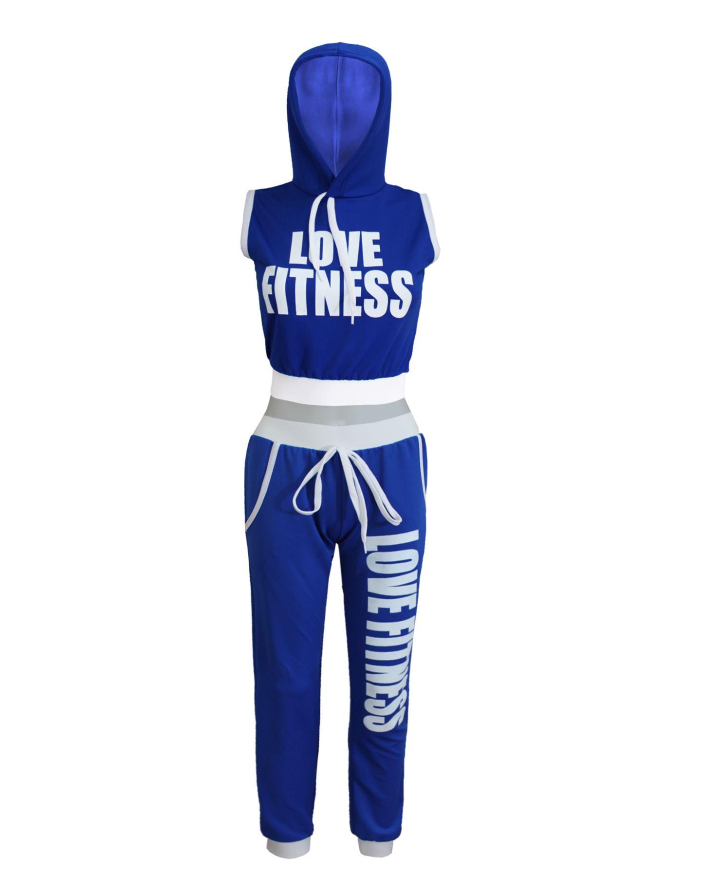 Nouveau Femme Femmes Amour Fitness Gym Yoga à capuche 2pcs Survêtement Jogging Ensemble UK 8-14