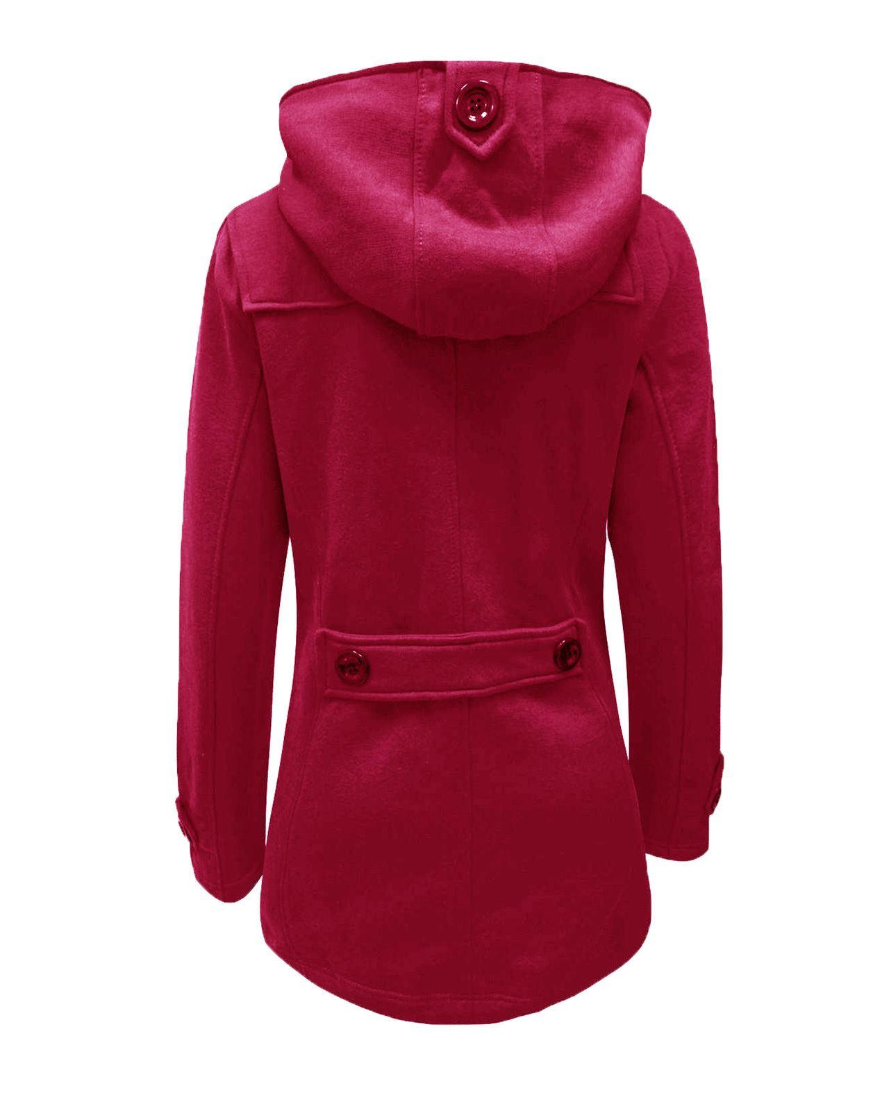 Ladies Womens Fleece Jacket Duffle Toggle Style Hooded Pocket Coat Top Size 8-20
