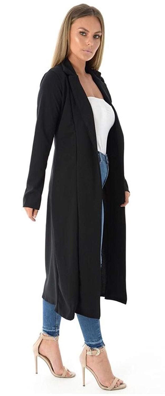 New Ladies Long Sleeve Waterfall Duster Kimono Boyfriend Cardigan Jacket Coat