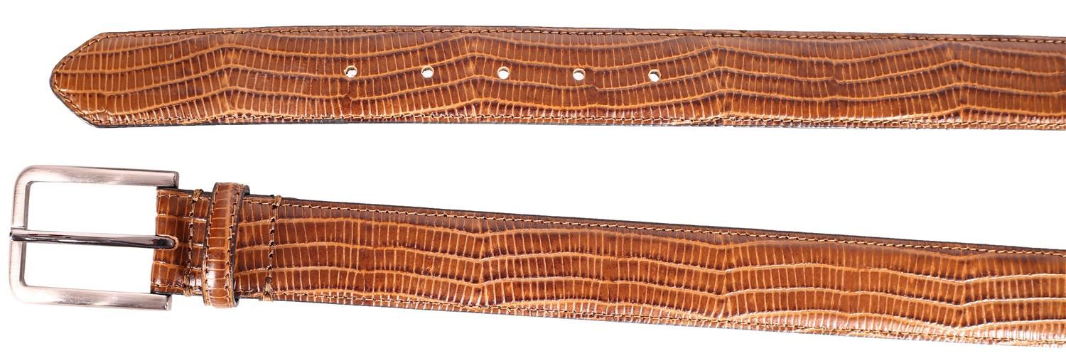 New Mens Genuine Leather Brown Snake Skin Stitched Pin Buckle Belts S-3XL