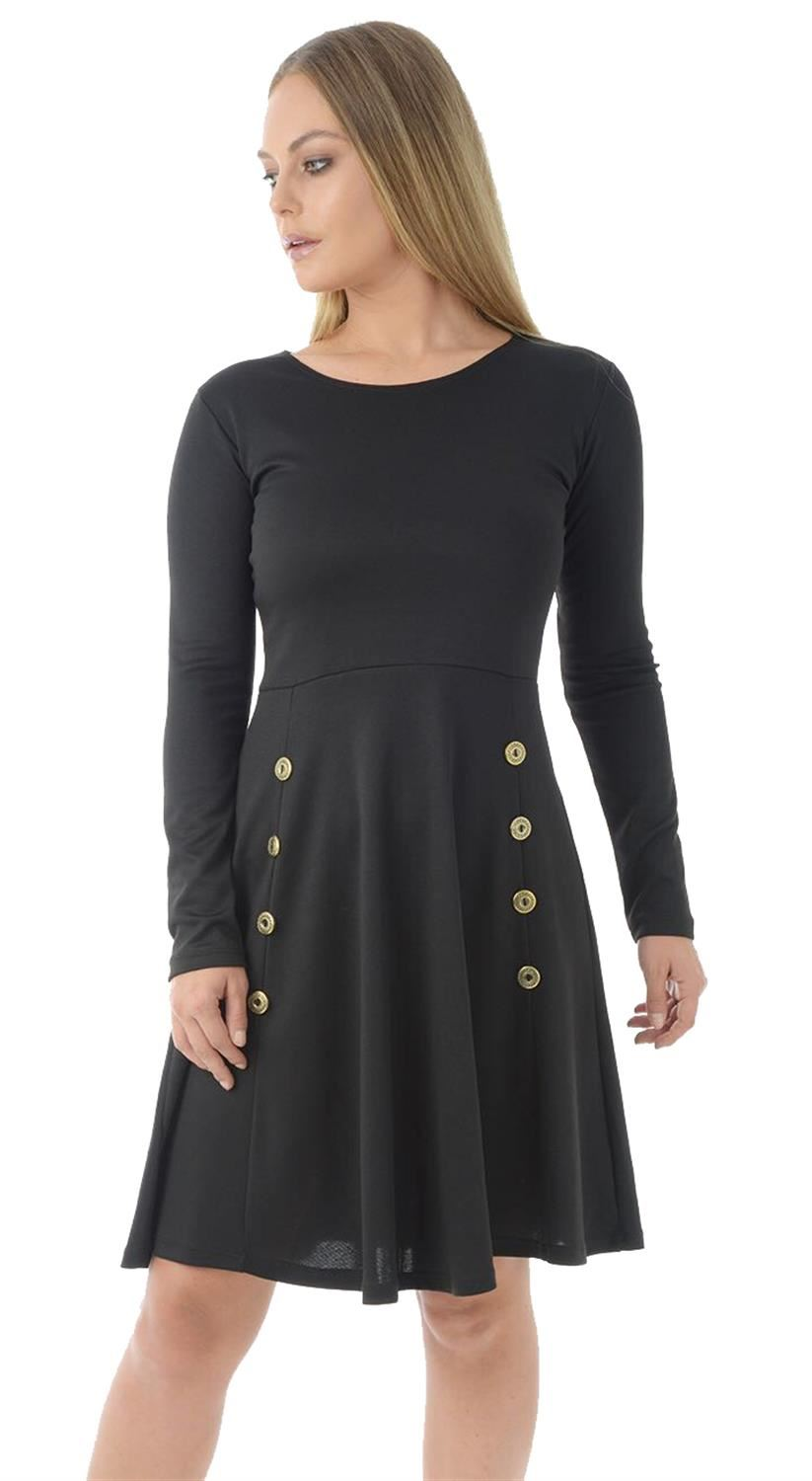 New Womens Military Button Long Sleeve Party Flared Skater Swing Dress 8-20