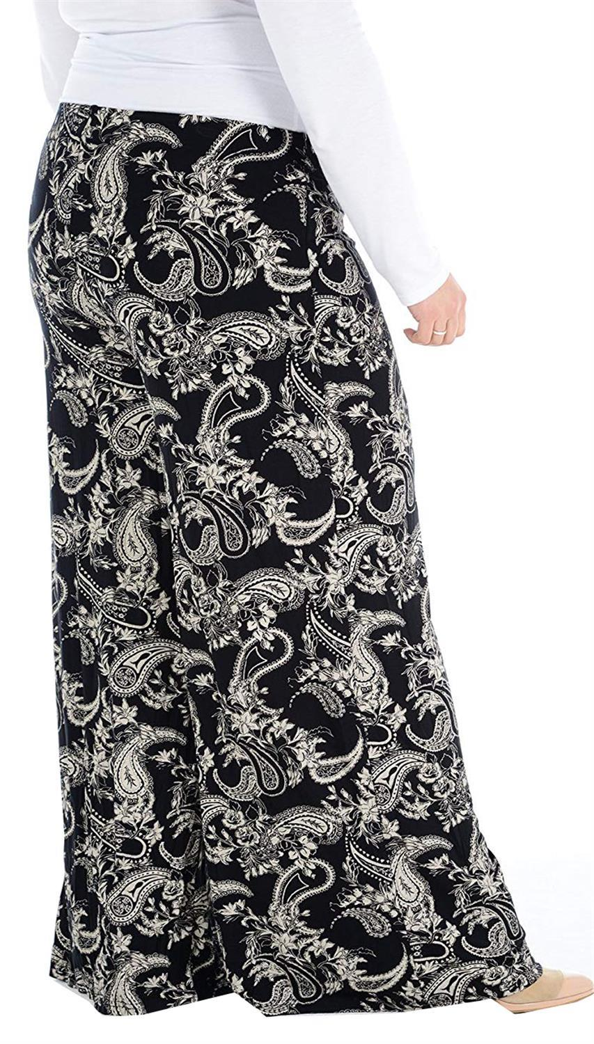 New Ladies Plus Size Printed Palazzo Wide Leg Flared Trousers Pants 16-30