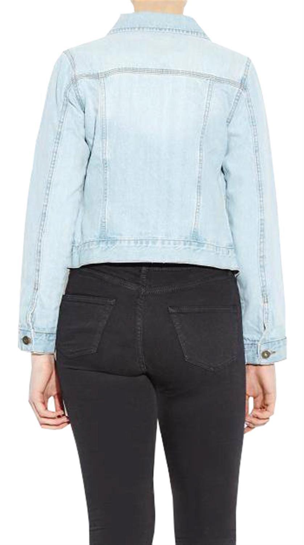 NUOVI Donna Taglie Forti Cotone Denim Bleach Wash pulsante Jacket 18-24