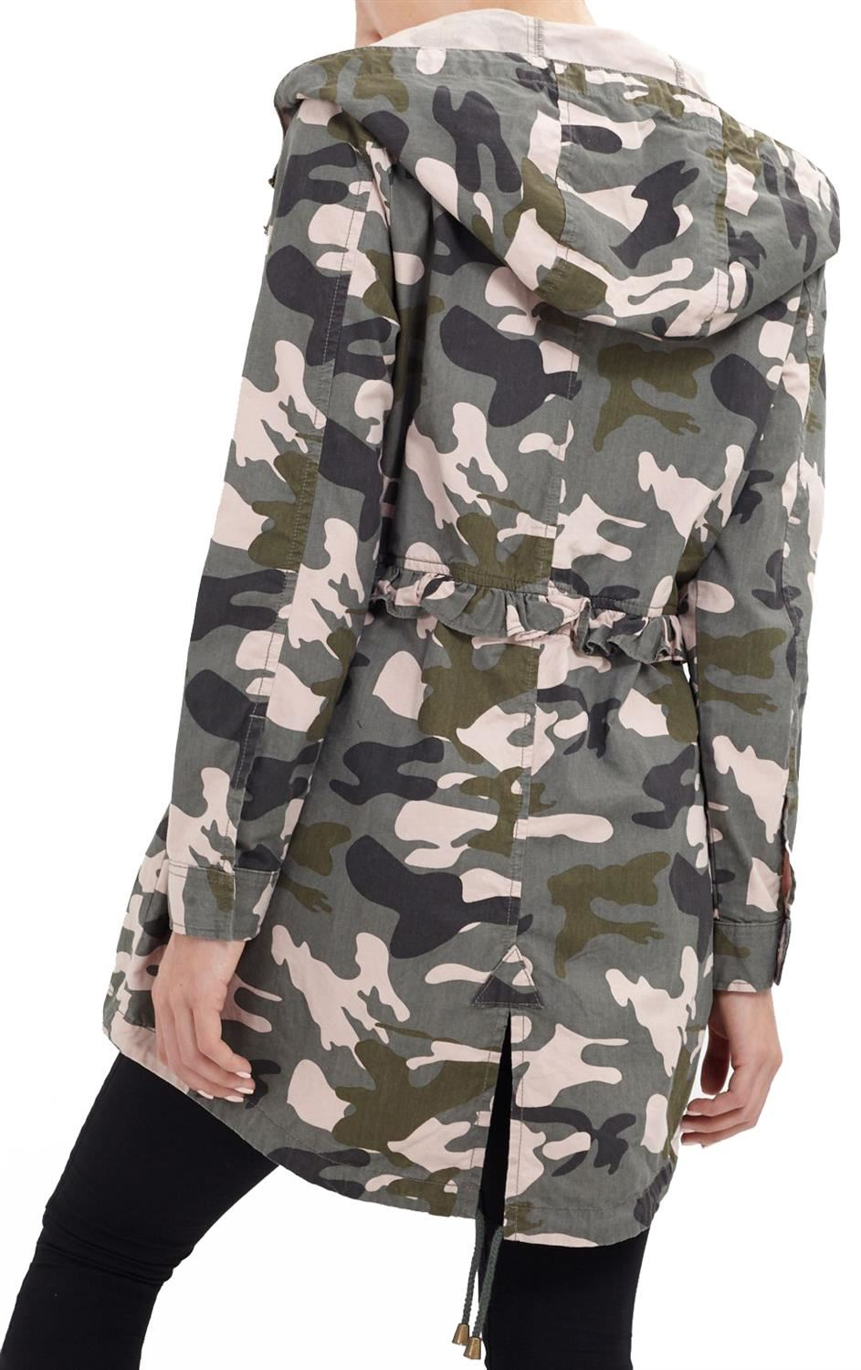 Womens Oversized Camouflage Army Print Hooded Frill Waist Parka Coat Jacket