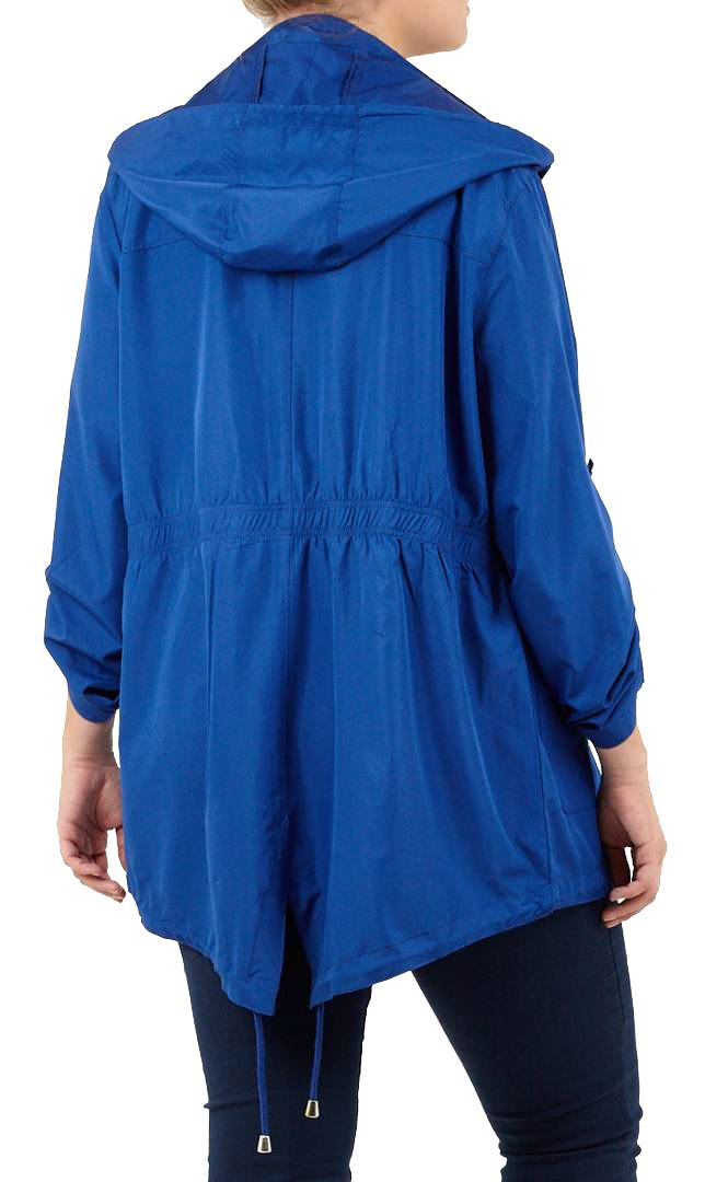 Details about  /New Womens Plain Long Sleeve Roll Up Fishtail Waterproof Raincoats Jackets