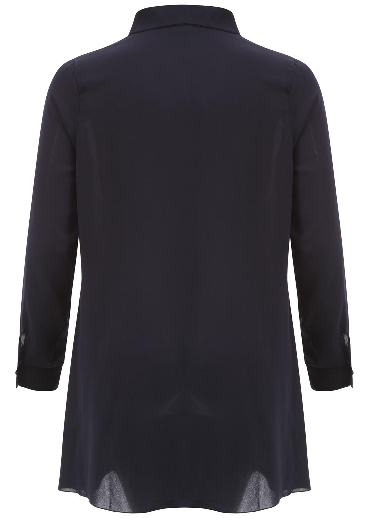 New Womens Long Tunic Plus size Chiffon Embellished Collar Shirt Tops 18-24