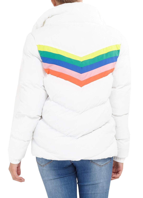 Damen Regenbogen Chevron Streifen Einfügen Polyester Gepolstert Kurz Jacke